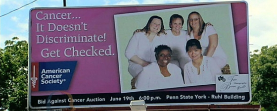 York billboards share powerful message: Cancer doesn't discriminate, get checked